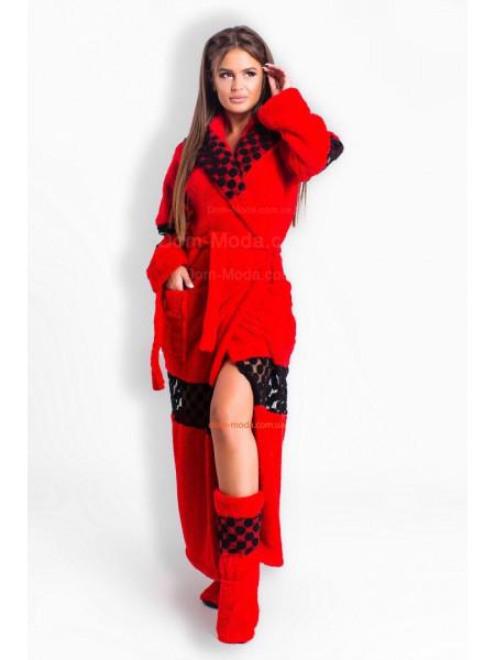 Длинный махровый халат женский с сапожками