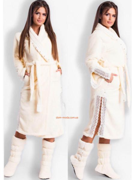 Длинный женский махровый халат с кружевом + сапожки