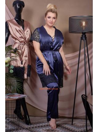 Шелковая пижама с халатом большого размера