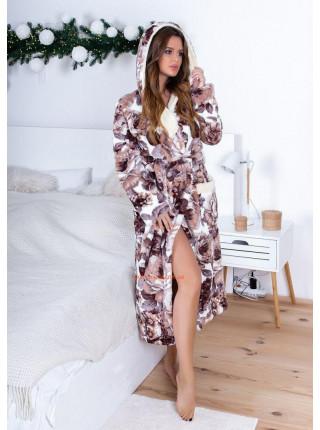 Длинный халат женский теплый с капюшоном