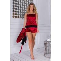 Жіноча велюрова піжама з халатом великого розміру