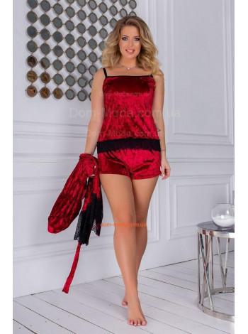 Женская велюровая пижама с халатом большого размера