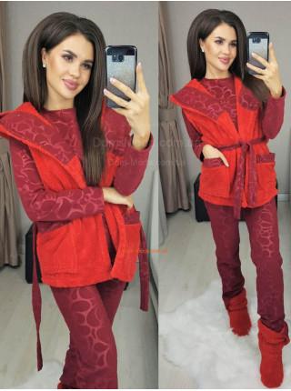 Пижама теплая женская с жилеткой и сапожками