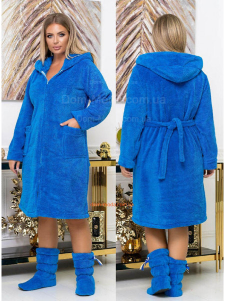 Махровый халат на молнии с сапожками