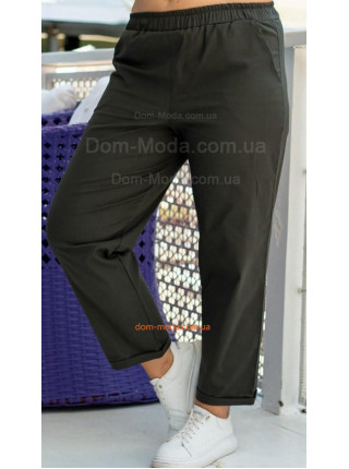 Льняные брюки на резинке большого размера