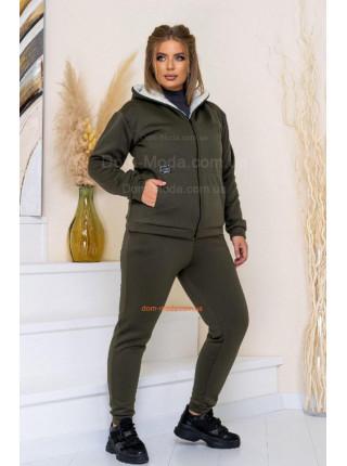 Теплый спортивный костюм женский на овчине большого размера