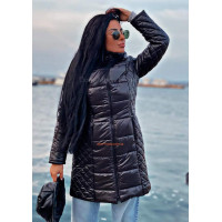 Жіноча стильна подовжена куртка плащівка на синтепоні