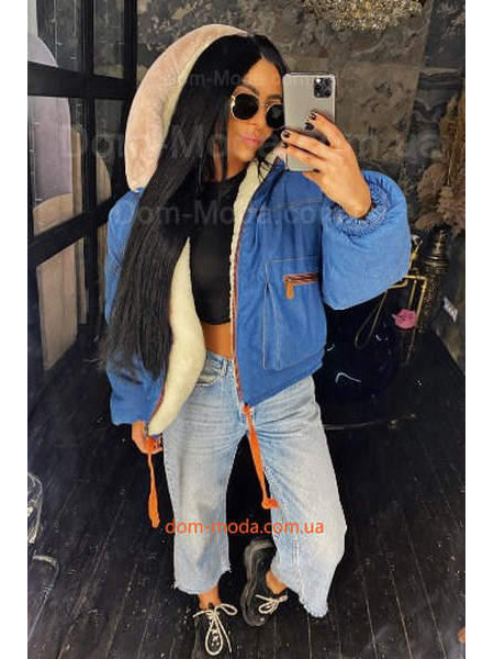 Джинсовая теплая куртка женская