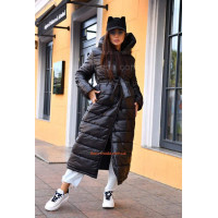 Черная зимняя куртка женская длинная