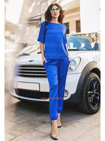 Жіночий літній атласний костюм з брюками і кофтою