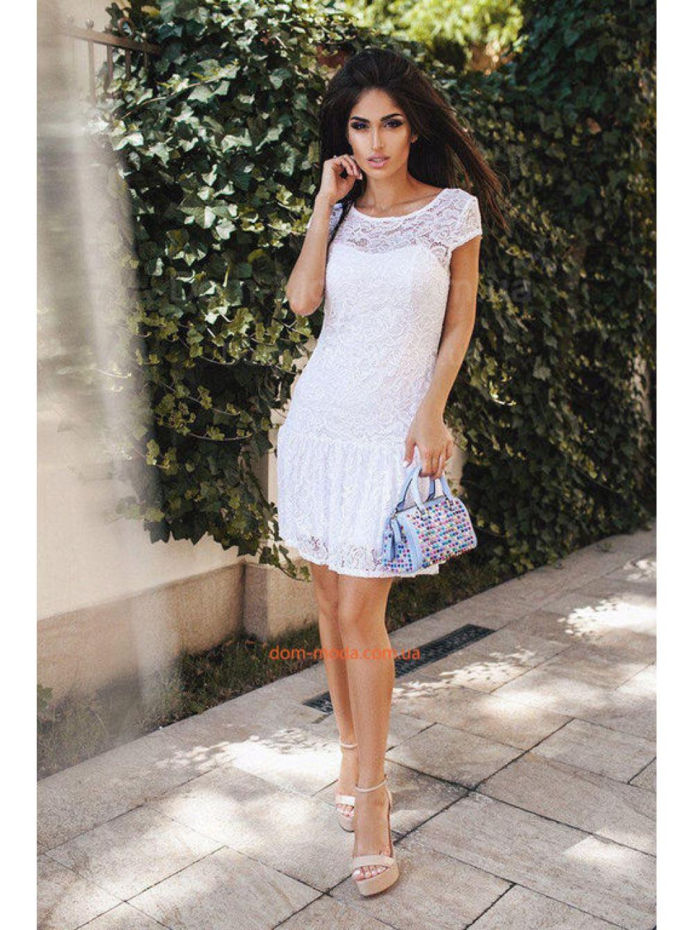 ce79daea239 Летнее кружевное платье женское с коротким рукавом