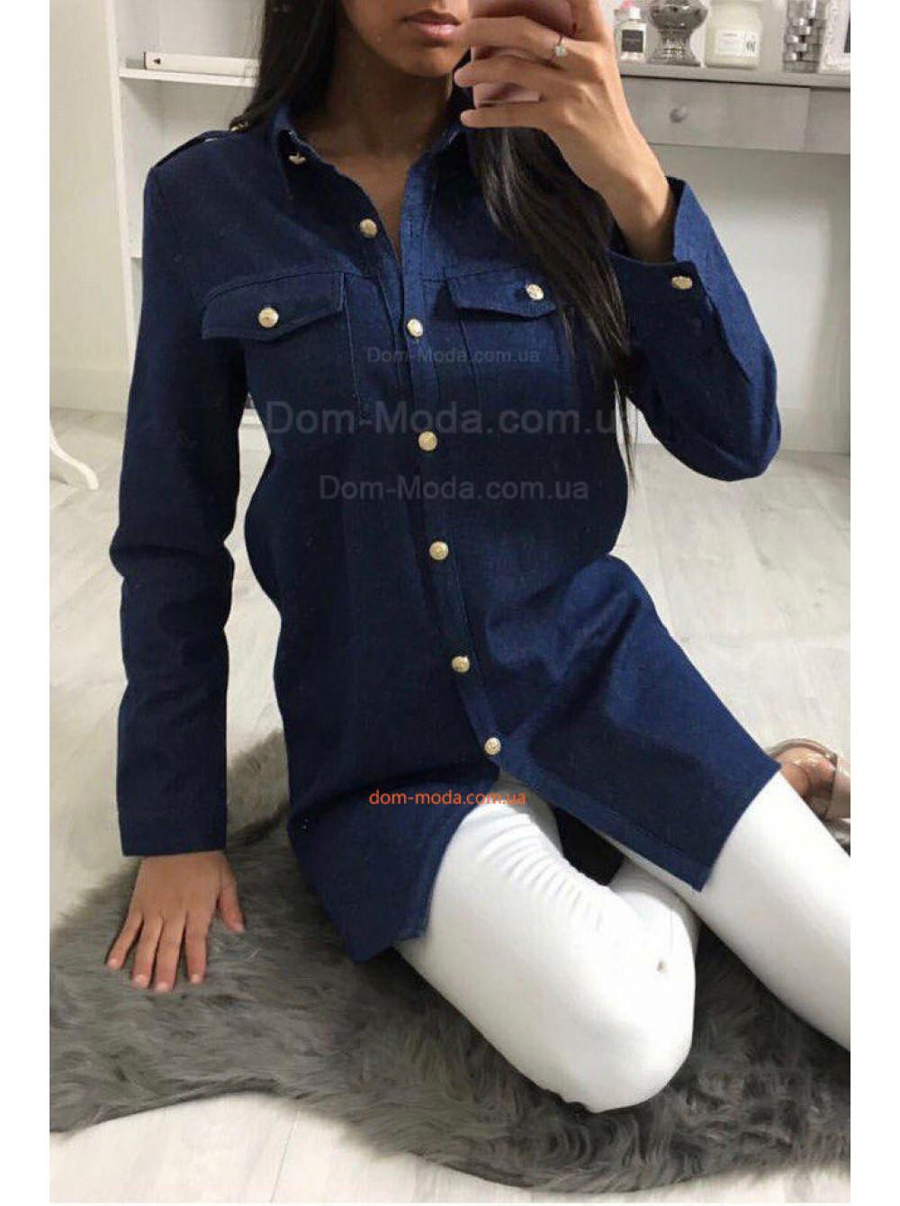1cc3884ea88d454 Удлиненная джинсовая рубашка женская купить за 430 грн SF-8723 в ...
