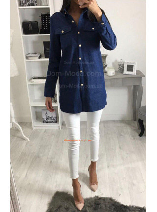 Подовжена джинсова рубашка жіноча