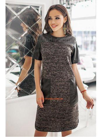 Плаття з накладними кишенями зі шкіри