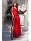 Летнее длинное платье с запахом и рюшами