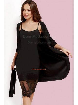 Женское деловое платье двойка с кружевом