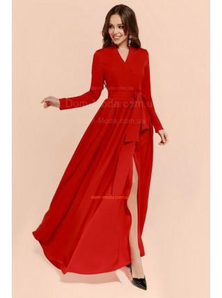 Женское длинное платье на запах с рукавом