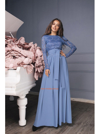 Женское платье длинное вечернее с кружевом