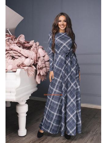 """Довге жіноче плаття з довгим рукавом """"Клітинка"""""""