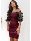Женское вечернее платье с рукавами из сетки