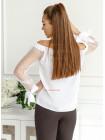 Нарядная женская блузка с открытыми плечами и длинными рукавами
