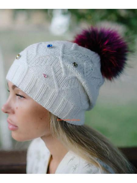 Зимова жіноча шапка з хутряним помпоном єнот ... 4357794daf39f