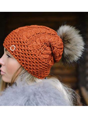 Модная вязаная шапка женская с помпоном