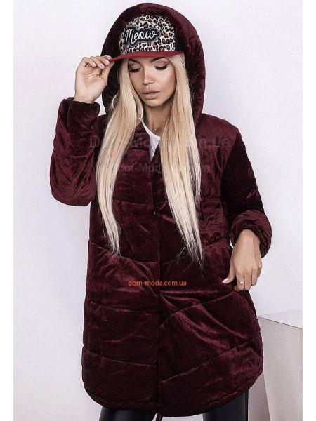 Зимняя велюровая куртка оверсайз