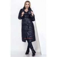 Зимове жіноче пальто на синтепоні чорного кольору