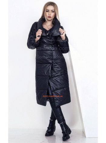 Зимнее женское пальто на синтепоне черного цвета