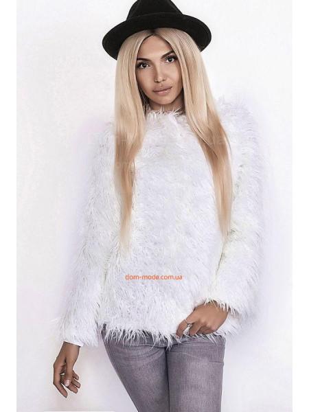 "Белый меховой жакет ""Лама"""