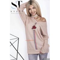 Жіночий подовжений светр з чокером норма і батал