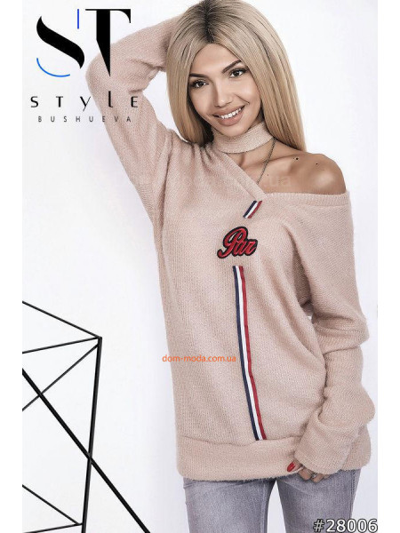 Женский удлиненный свитер с чокером норма и батал