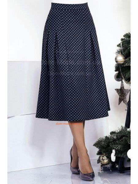 Трикотажна юбка міді в дрібний принт