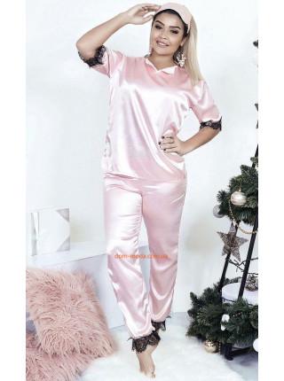 Атласная пижама со штанами большого размера