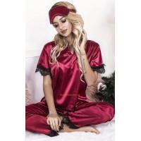 Атласная пижама с маской для сна