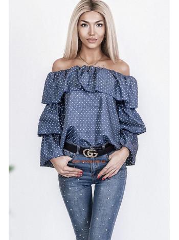 """Женская джинсовая рубашка """"Горошек"""""""