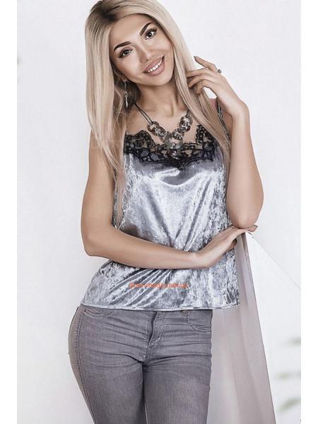 Женская стильная бархатная маечка с кружевом