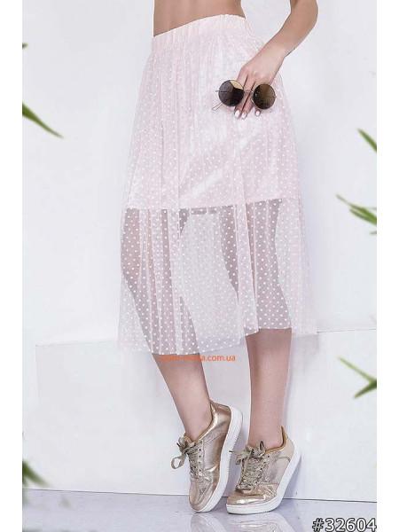 Модна літня юбка з сітки на резинці