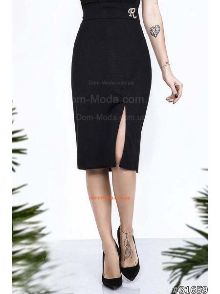Трикотажная юбка с боковым разрезом