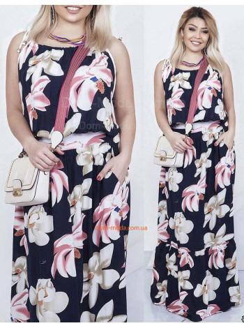 """Жіноча літнє плаття в підлогу """"Штапель"""""""
