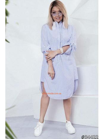 Женское летнее платье рубашка в полоску большого размера