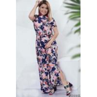 Женское длинное платье в цветы большого размера