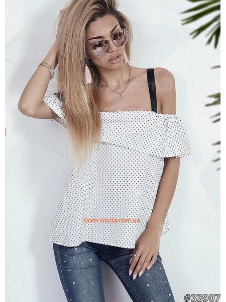 Летняя блузка в горошек с воланом