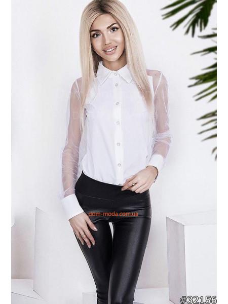 Модная женская рубашка с прозрачными рукавами 36, 38, 40, 42 размера