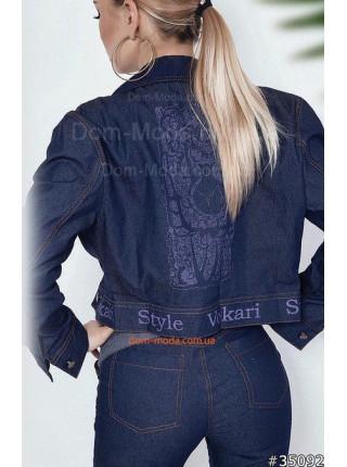 Джинсовая женская куртка пиджак