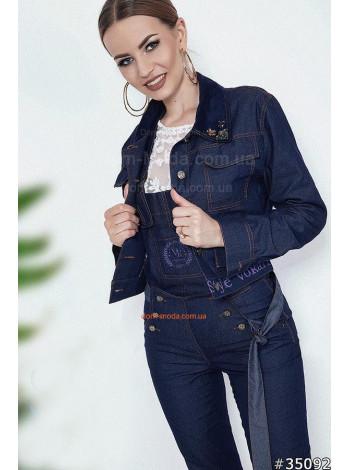 Джинсова жіноча куртка піджак