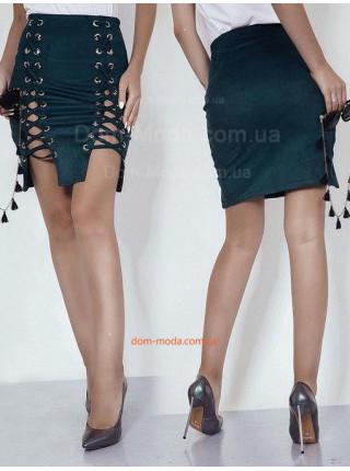 Короткая замшевая юбка со шнуровкой