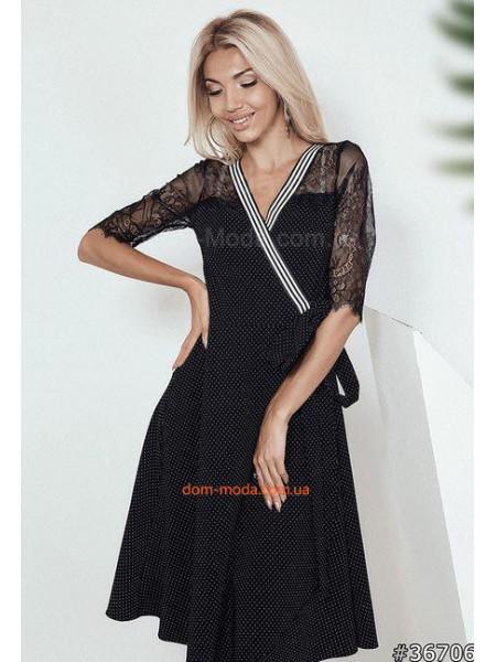 Модное женское платье халат миди с кружевом