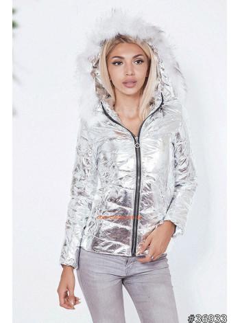 Теплая куртка с замком цвета металлик